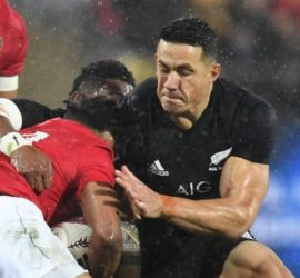 The contentious red card moment - Sonny Bill's shoulder connects with Lions' player Anthony Watson's head