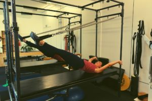 Marta on the Trapeze table at Central Lakes Physio